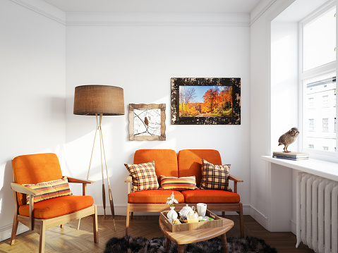 Orange Color「Cozy Living Room」:スマホ壁紙(14)