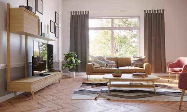 Cozy Living Room Interior:スマホ壁紙(壁紙.com)