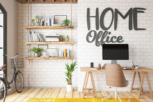 Small Office「Work at Home Concept Home Office Interior」:スマホ壁紙(4)