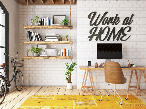 Illustration「Work at Home Concept Home Office Interior」:スマホ壁紙(13)