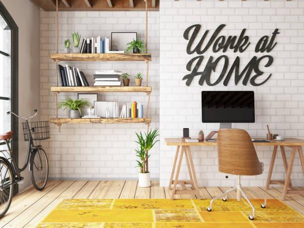 Work at Home Concept Home Office Interior:スマホ壁紙(壁紙.com)