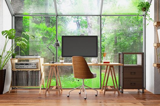 Small Office「Work at Home Concept Home Office Interior with Computer Monitor and Garden View」:スマホ壁紙(17)