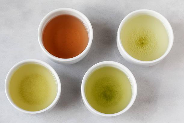 Four tea bowls of Sencha, Gyukuro, Hojicha und Genmaicha:スマホ壁紙(壁紙.com)