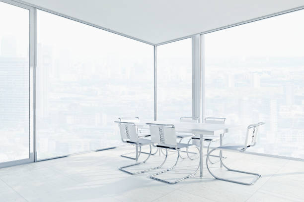 Empty chairs and conference table in office:スマホ壁紙(壁紙.com)