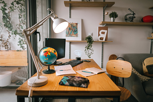 Desk Lamp「Study space in modern apartment」:スマホ壁紙(0)