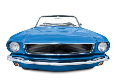 Hot Rod Car「Blue Mustang Convertible 1966」:スマホ壁紙(2)