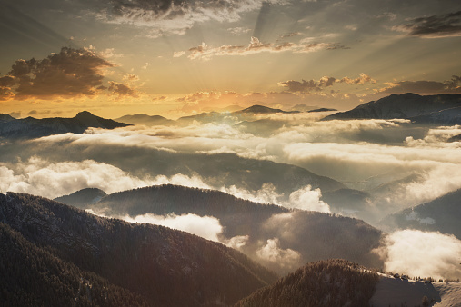 Piedmont - Italy「Sunrise over mountains in the clouds in winter」:スマホ壁紙(6)