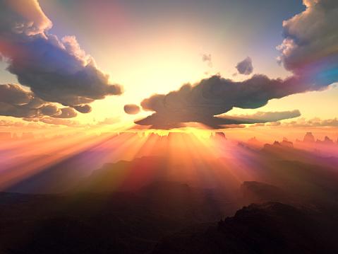 ドラマチックな空模様「Sunrise over mountains」:スマホ壁紙(11)
