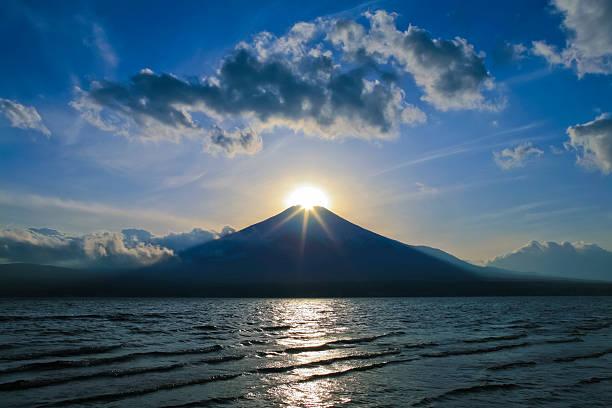 Sunrise over the peak of Mount Fuji, seen from Yamanaka Lake:スマホ壁紙(壁紙.com)