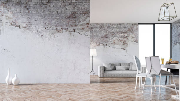 Empty living room with sofa, table and chairs - ruined wall:スマホ壁紙(壁紙.com)