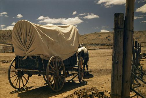 Horse-drawn carriage「Covered wagon drawn by horse」:スマホ壁紙(18)