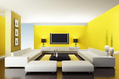 アート「モダンな黄色のリビングルーム」:スマホ壁紙(5)