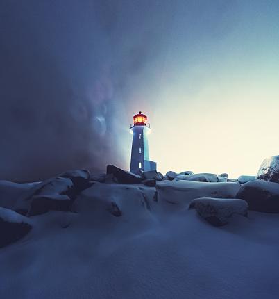 雪が降る「ペギーのコーブ灯台で吹雪」:スマホ壁紙(18)