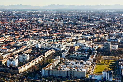 Munich「Aerial cityscape of Munich at sunset」:スマホ壁紙(8)