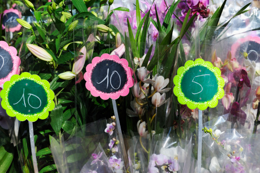 Flower Arrangement「Euros prices on flowers for sale at market」:スマホ壁紙(13)