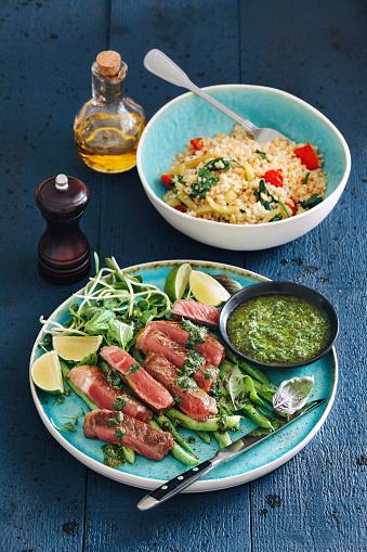 Bulgur Wheat「Steak with mustard sauce, vegetables, herbs and capers」:スマホ壁紙(6)