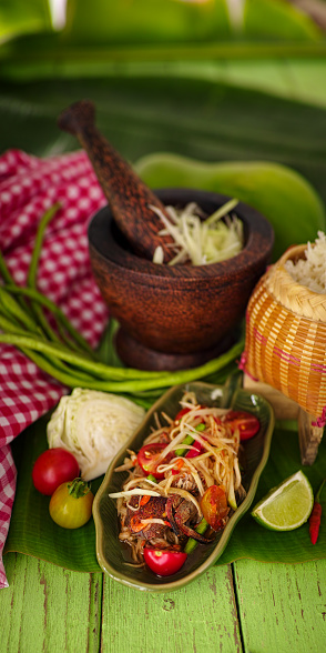 PGA Event「Som Tam Boo Bala, a popular and favourite Thai food dish made of young sliced papaya, freshwater crab, chili, tomatoes, palm sugar and dried shrimp served with sticky rice.」:スマホ壁紙(0)