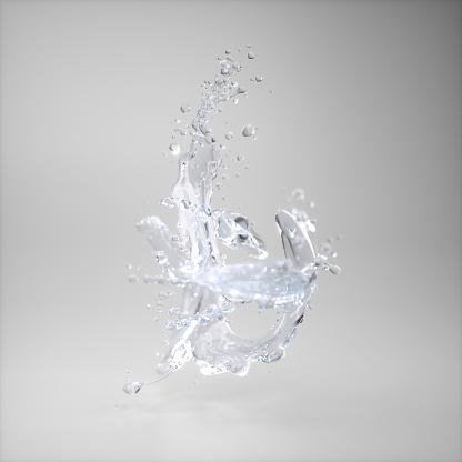 Splashing Droplet「Water splash on grey background」:スマホ壁紙(14)