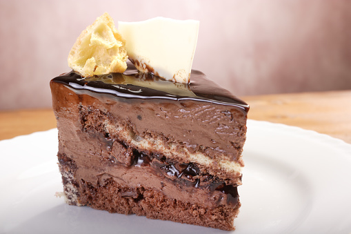 Milk Chocolate「Close up portion of delicious sliced chocolate cake」:スマホ壁紙(19)