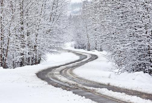 吹雪「曲がりくねった冬 Road」:スマホ壁紙(14)