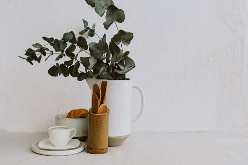 Coffee - Drink「Coffee cup, croissant, Kitchen utensils and eucalyptus in a jug」:スマホ壁紙(17)