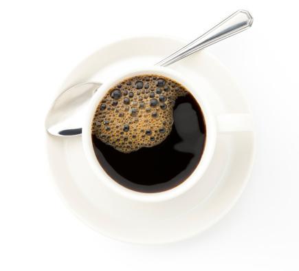 Coffee Break「Coffee cup with a silver tea spoon on white background」:スマホ壁紙(3)