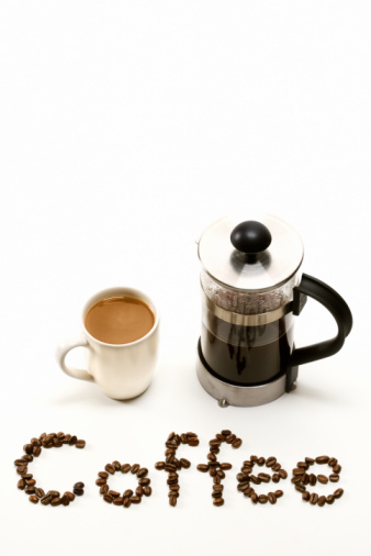 French Press「Coffee cup with French press and text made of coffee beans」:スマホ壁紙(8)