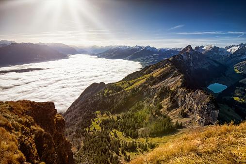 St Gallen Canton「View over Alpstein and Rhine Valley full of fog」:スマホ壁紙(11)