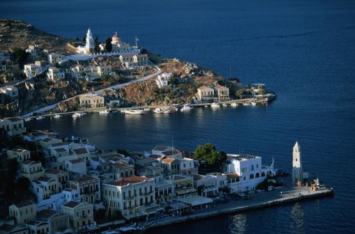 Aegean Sea「Symi, Greece -- Town and Harbor」:スマホ壁紙(3)