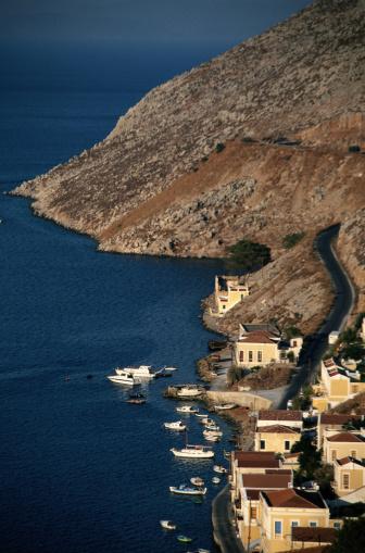 Aegean Sea「Symi, Greece -- Island Harbor and Town」:スマホ壁紙(6)