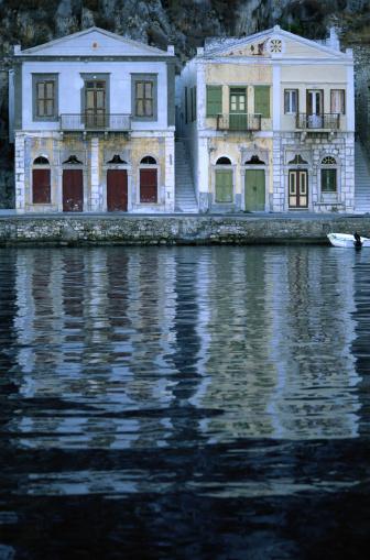 Aegean Sea「Symi, Greece -- Houses at Harbor」:スマホ壁紙(8)