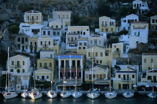 Aegean Sea「Symi, Greece -- Houses at Harbor」:スマホ壁紙(7)