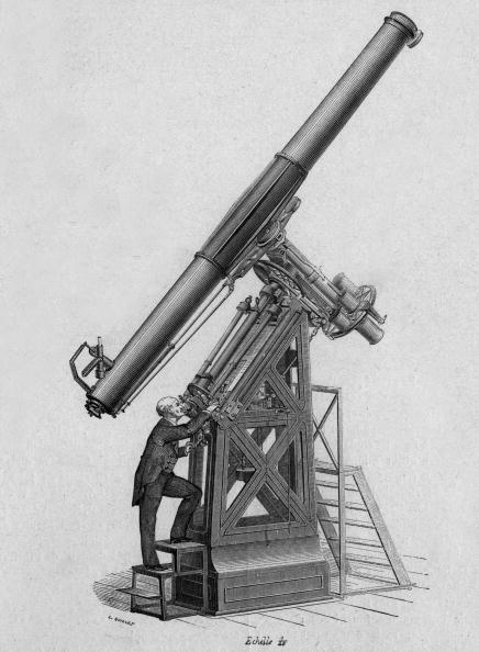 """Optical Instrument「Equatorial telescope observatory of Paris around 1834 engraving from the book """"Album of science famous scientist discoveries"""" in 1899」:写真・画像(16)[壁紙.com]"""