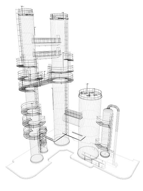 Oil Industry Storage Tank  Chimney Wire Frame:スマホ壁紙(壁紙.com)