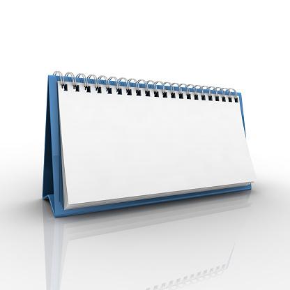 Standing「Blank blue desk calendar on a reflective white background」:スマホ壁紙(11)