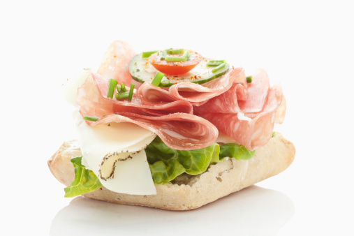 Cheese「Bread roll with salami, cheese, tomatoes, lettuce on white background」:スマホ壁紙(2)