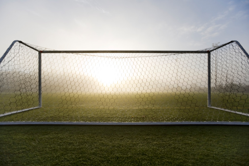 Fog「A pristine sport turf field and white post soccer goal viewed in autumn fog and morning light.」:スマホ壁紙(10)