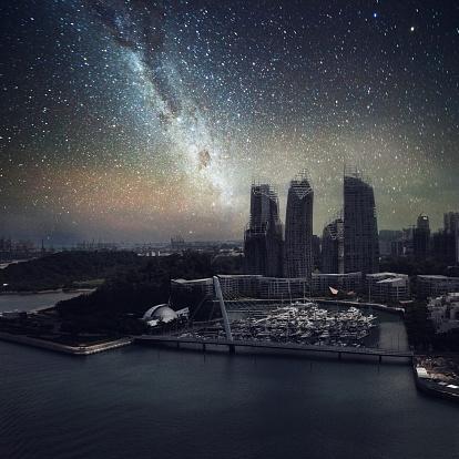 天の川「シンガポール夜ライトなし」:スマホ壁紙(0)