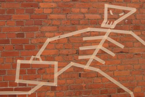 Masking Tape「Masking tape art on brick wall」:スマホ壁紙(15)