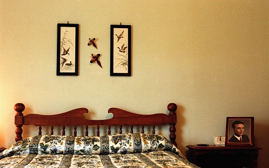 1950-1959「Made bed with pictures of birds on wall」:スマホ壁紙(18)