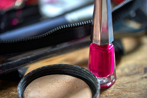 Real Life「A messy still life of a make-up blusher and nail polish」:スマホ壁紙(8)