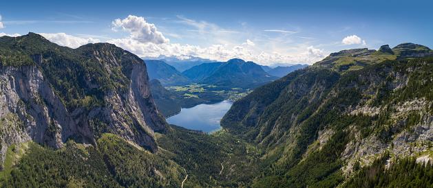Salzkammergut「Lake Altaussee, Austria - Huge Aerial Panorama」:スマホ壁紙(3)
