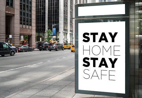 Mid-Atlantic - USA「Billboard in a bus stop with stayhome message in New York」:スマホ壁紙(0)