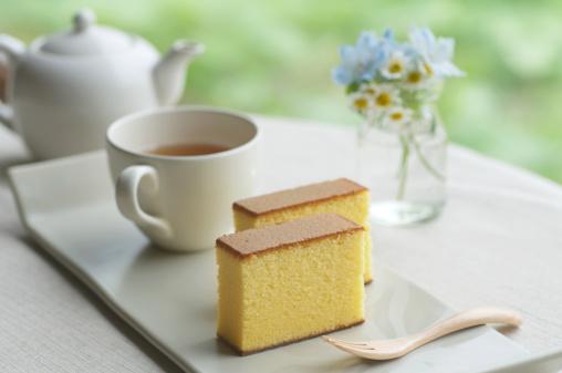 Wagashi「Japanese style sponge cakes with tea set」:スマホ壁紙(4)