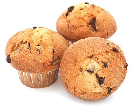 Sweet Food「Three muffins on a white background」:スマホ壁紙(10)