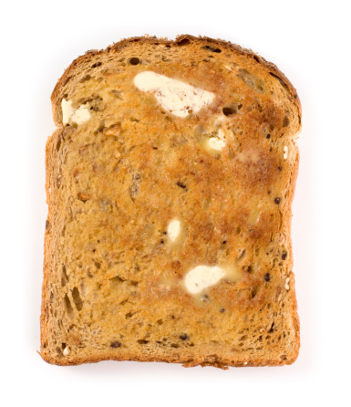 Toasted Food「Wholemeal brown toast with butter on a white background」:スマホ壁紙(12)