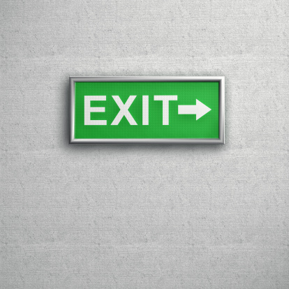 Gray Background「Green Exit sign on a grey Wall」:スマホ壁紙(2)