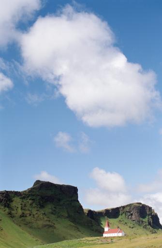 Basalt「Iceland, Vik, Lutheran church beside basalt cliffs」:スマホ壁紙(6)