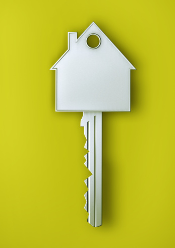 Green Background「Silver house key with a house」:スマホ壁紙(15)