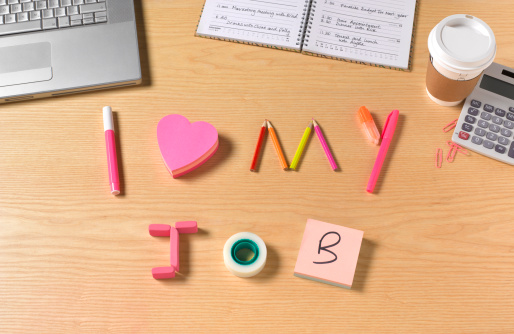 Adhesive Note「I love my job office desk」:スマホ壁紙(14)